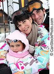 Couple on skiing holiday