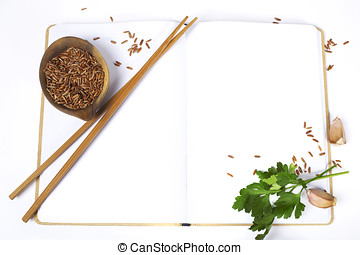 uncooked rice and chopsticks - uncooked rice, chopsticks,...