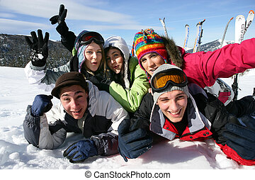 Group of friends on skiing holiday