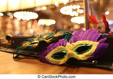 Mardi Gras decorations on a table