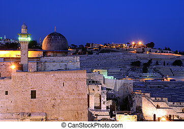 Al Aqsa Mosque, the third holiest site in Islam, with Mount...