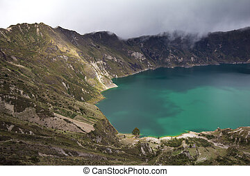 Quilotoa Crater Lake - View of Quilotoa crater, Ecuadorian...