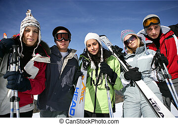 Group of teenagers on a ski trip