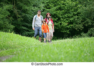 Family on hiking trip