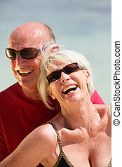 Elderly couple on holiday together