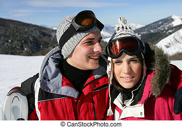 couple at ski season