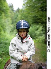 poco, niño, equitación, caballo, primero, tiempo