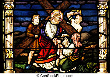 Jesus takes up His cross - Stained glass depiction of the...