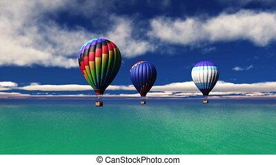 hot-air balloons rising