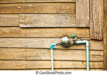 The water meter and PVC pipeline