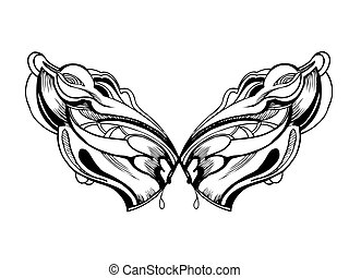 abstract graphic design in black and white wings - a...
