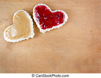 Peanut butter and jelly sandwitch cut in heart shape -...