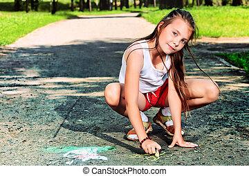 drawing - Cheerful girl having fun outdoors