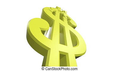 Crumbling Dollar Sign - Low angle view of a dollar sign...