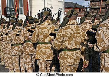 irlandés, guardias, el volver, hogar, guerra