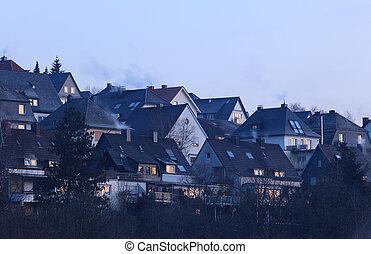 mieszkaniowy, Domy, Siegerland, Niemcy, fotografia, wzięty,...