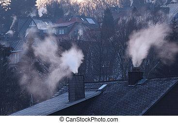 kominy, mieszkaniowy, Domy, wcześnie, Zima, rano, Siegen,...