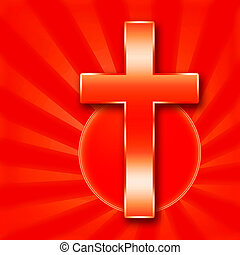 Holy Cross - Christian Holy Cross illustration on red...