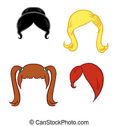 wigs for woman 2 - colored illustration of wigs for women...