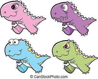 Dinosaur Tyrannosaurus Vector Set - Cute Dinosaur...