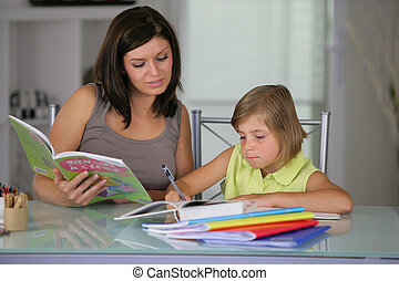 Mother helping daughter with schoolwork