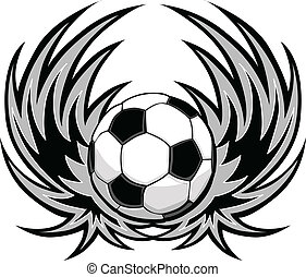 Soccer Template with Wings - Graphic Soccer ball image...