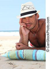 hombre, playa, paja, Panamá, sombrero