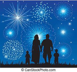 família, observar, fogos artifício