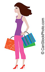 shopping girl - vector illustration of a shopping girl