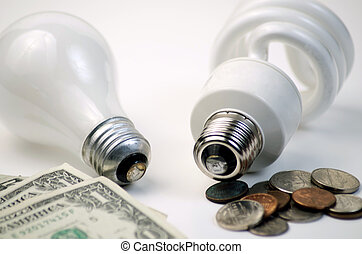 CFL or Incandescent Lightbulbs - Concept shot showing that...