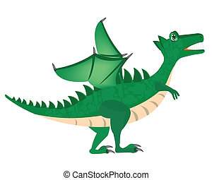 Green dragon - Illustration of the green dragon on white...