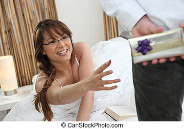 Woman reaching out her arm