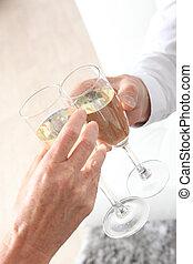 pareja, champaña, Flautas