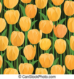tulip flowers field seamless - vector yellow tulip flowers...