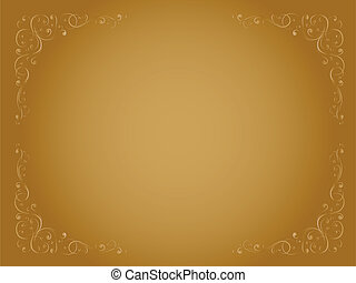 simple gold ornamental decorative frame - Vector simple gold...
