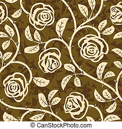 Rose Flowers Seamless Vector Repeat Pattern - Vector...