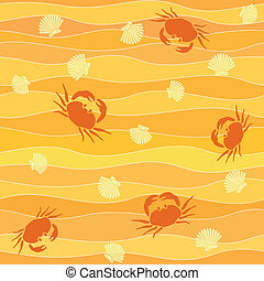 crabs and shellson the beach seamless background