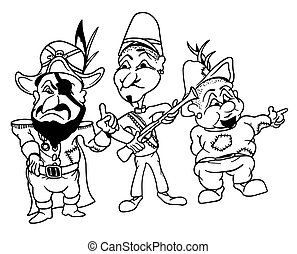 Bandits - Black and White Cartoon Illustration, Vector