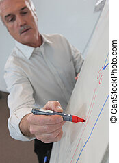 Man drawing on flip-chart