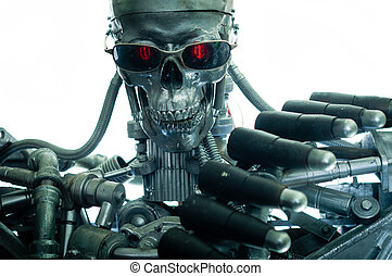 War machine with red eyes against isolated white background
