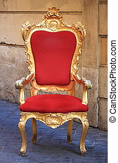 Throne - Emperor throne made with gold and red velvet