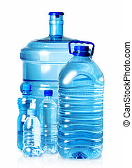5 bottles of water - Group plastic bottles of water isolated...