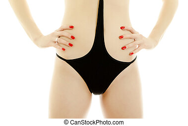 Woman body in black swimsuit. Isolated on white.