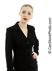 Executive woman in black suit. Isolated on white.