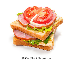 Ham sandwich with cheese, tomatoes and lettuce