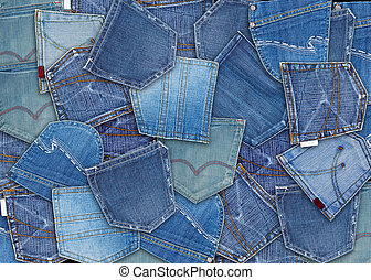 blue jeans pocket - background of different jeans pocket