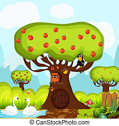Children background with owls - background for children with...