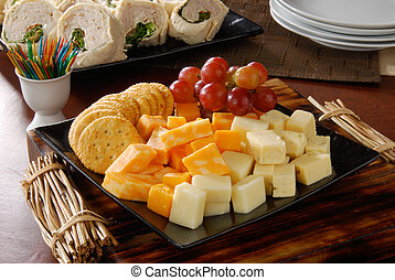 cheese and crackers party tray - A party tray of cheese and...