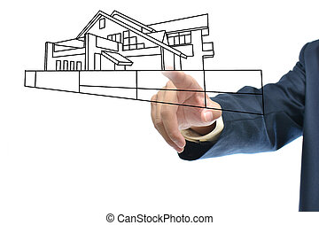 business idea - Selection idea by business hand pointing...