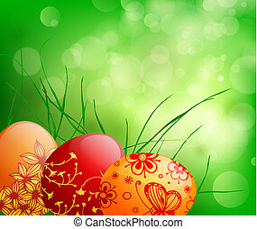 Easter eggs - spring background with  Easter eggs